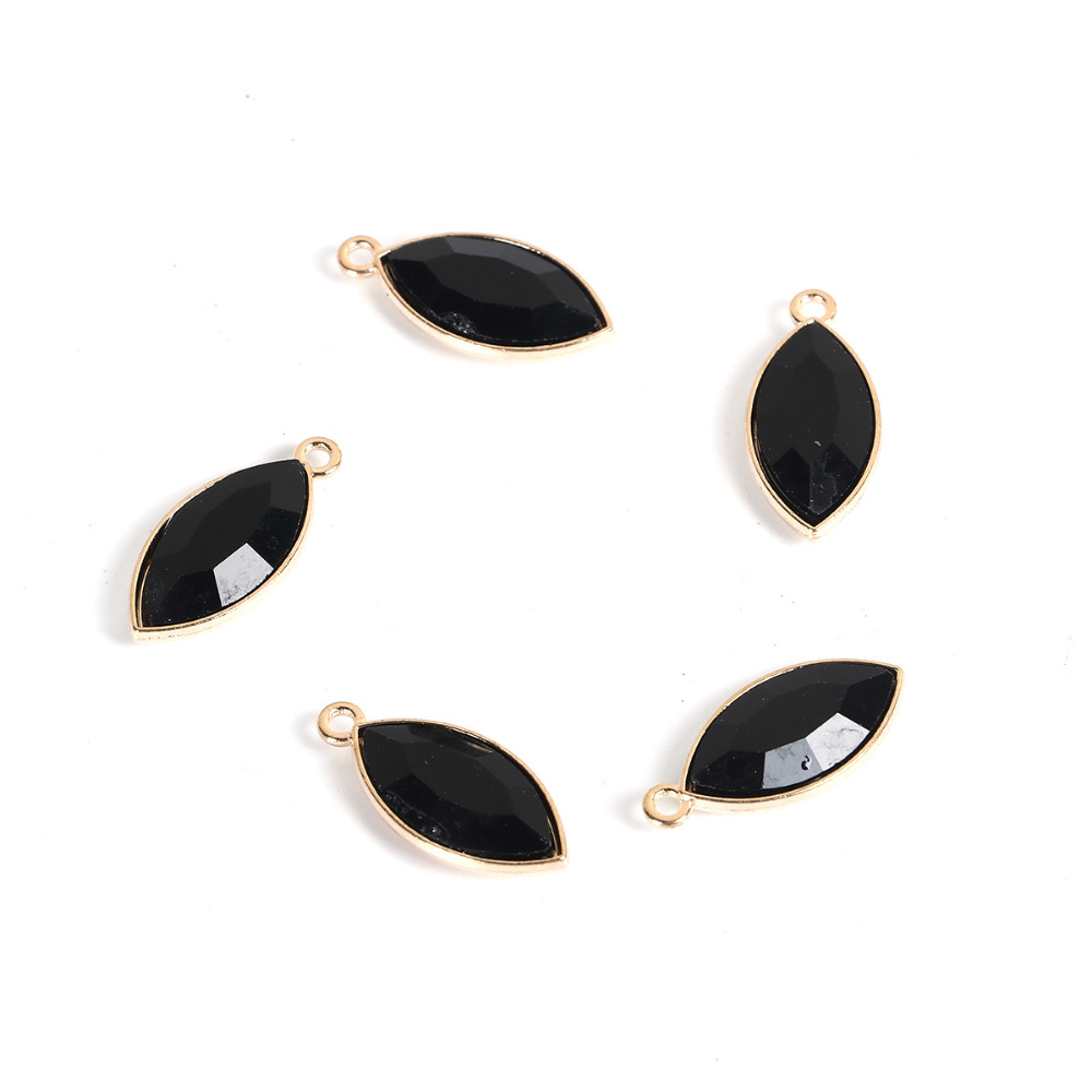 DoreenBeads Zinc Based Alloy Gold Color Charms Football Black Rhinestone Fashion DIY Components 24mm(1) x 11mm( 3/8), 10 PCs
