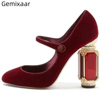 Luxury Velvet Mary Janes Sexy Round Toes Jeweled Diamond Heel Buckle Belt Crystal High Heels Rhinestone Shoes Woman