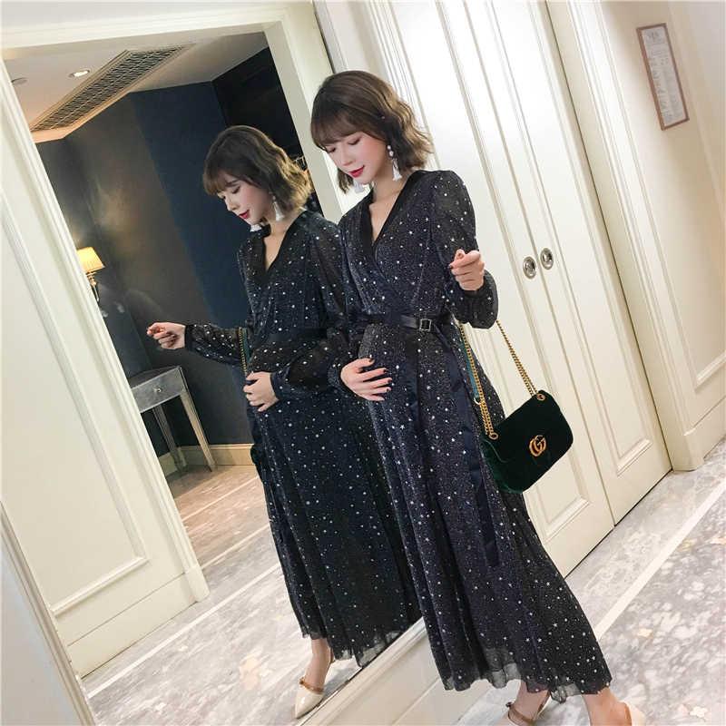AfeiTony/Новинка 2018 года; модное летнее кружевное платье для беременных; Длинные вечерние платья в богемном стиле для беременных