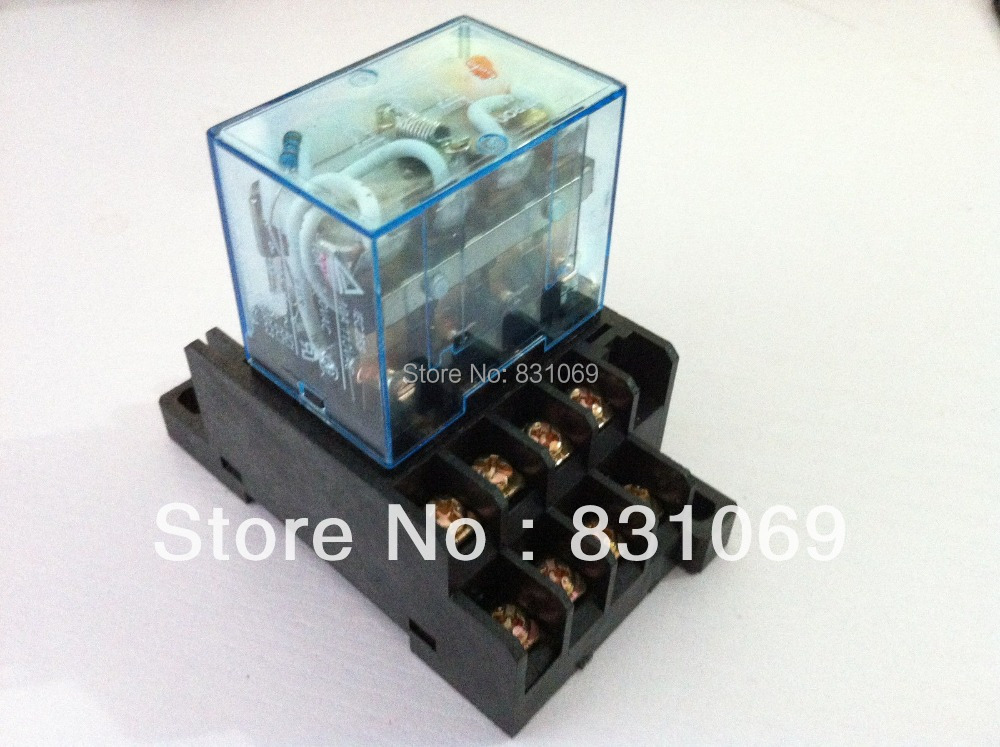 10 Sets Free Shipping LY4NJ HH64P AC220V 14PIN 10A Power Relay Coil 4PDT With PTF14A Socket Base