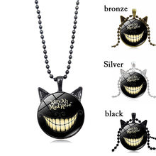 2018 New Alice In Wonderland Cheshire Cat necklaces & pendants Glass Cabochon Cat Ears Pendant Bead Chain Necklace for Women(China)