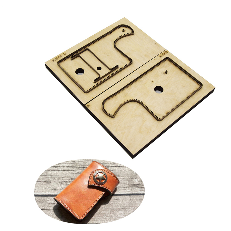Leather Die Cutter Japan Steel Blade Wooden Die Key Case Wallet Leather Craft Punch Tool Cutting
