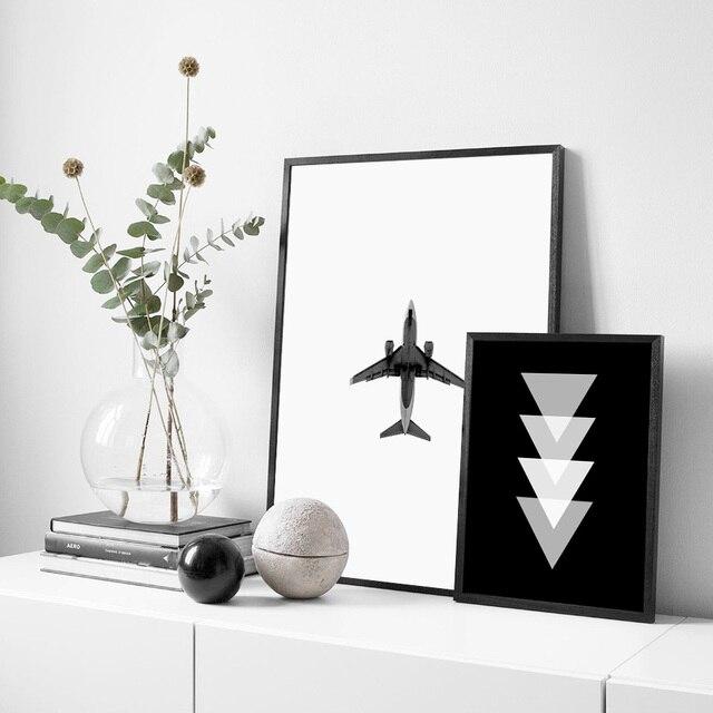 Airplane Geometric Black White Poster Nordic Wall Art 1