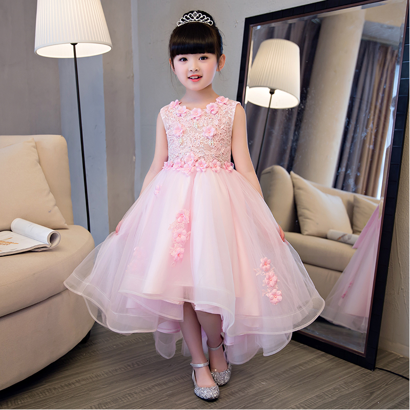 Elegant Girl Pink Lace Wedding Dress Summer Sleeveless Appliques Party Tulle Princess Birthday Dress Kids First