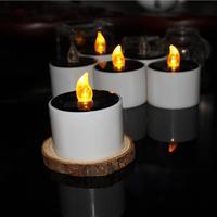 6 Pièces/lot Jaune Scintillement Solaire Power Led Bougies Sans Flamme Électronique Solaire LED Veilleuse Solaire D'énergie Bougie Lampes