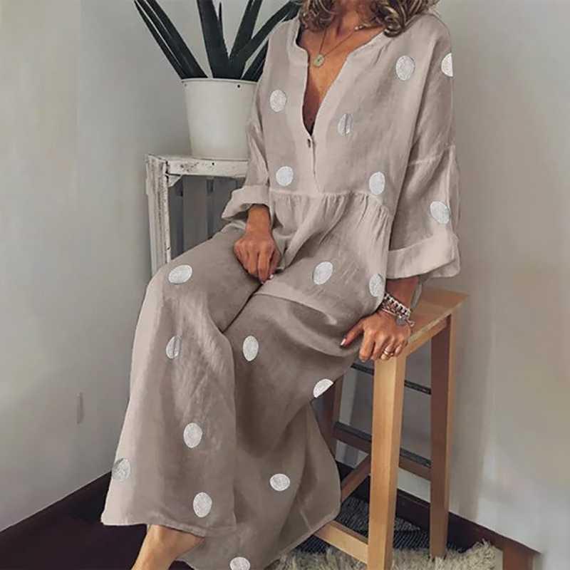プラスサイズの女性ポルカドット夏カジュアルルーズ長袖ボヘミアンマキシドレスセクシーな V ネック自由奔放に生きるビーチドレスヴィンテ vestidos