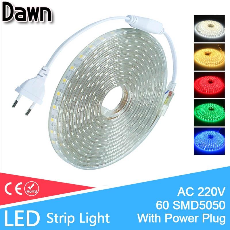 With Power Plug EVO IP67 SMD 5050 220V LED Strip Flexible Light 1M/2M/3M/5M/8M/10M/12M/15M/20M/25M 60leds/m Waterproof Led Light