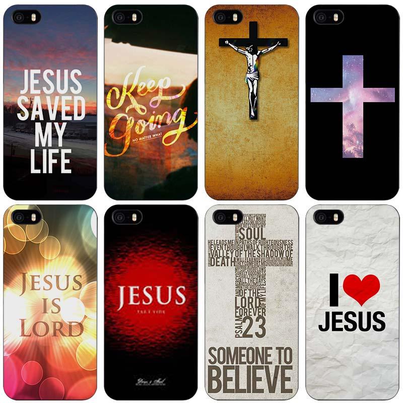 Christian Jesus The Cross Black Plastic Case Cover Shell for iPhone Apple 4 4s 5 5s SE 5c 6 6s 7 Plus