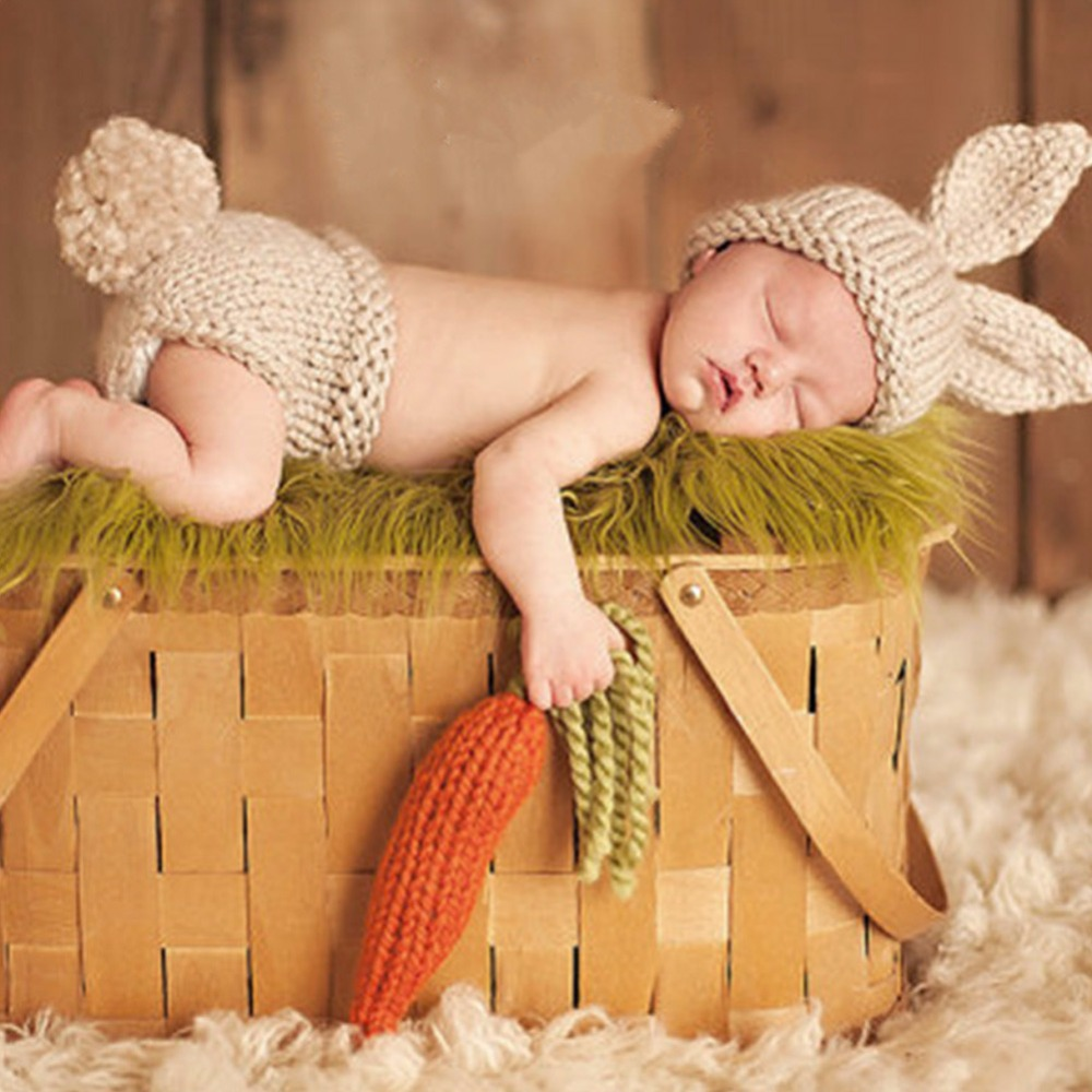 Cute  Newborn Baby Boy Girl Crochet Knit Costume Photo Photography Prop Outfits Ribbit Set