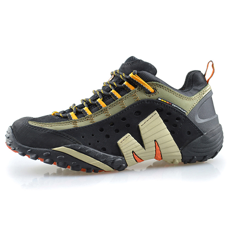 ФОТО Professional Outdoor Men's Hiking Shoes Genuine Leather Sport Style Antislip Climbing Shoes For Men Black Color