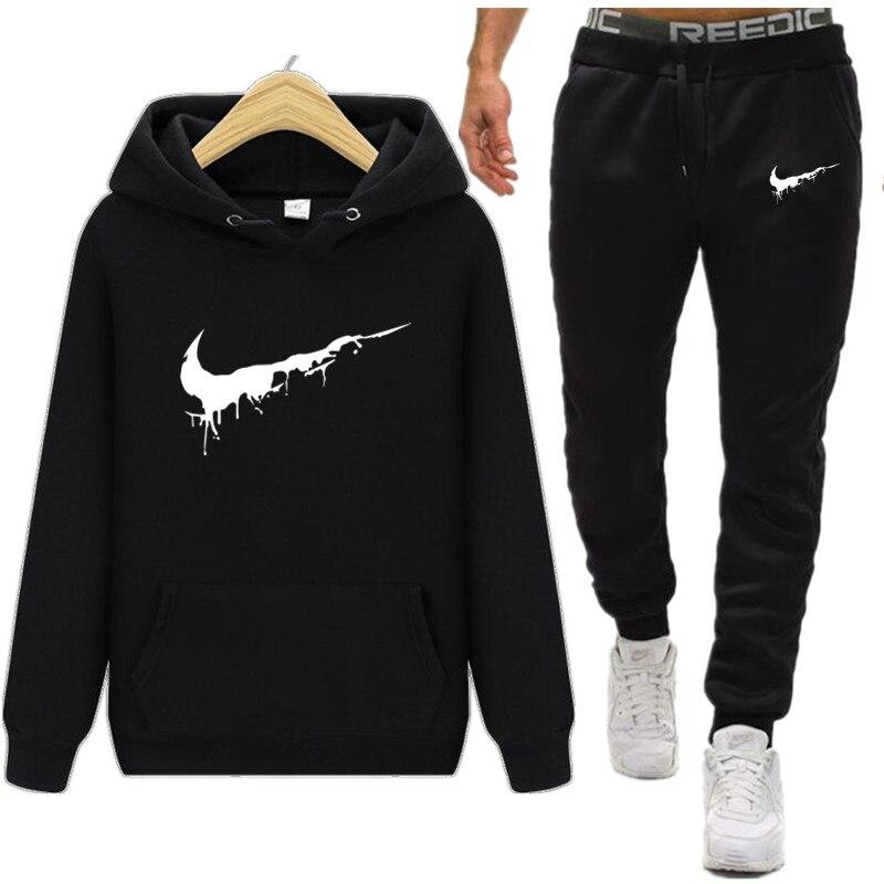 2019 Marke Logo Männer Sportswear Hoodies Set Frühling Anzug Kleidung Trainingsanzüge Männlichen Sweatshirts Mäntel Track Anzüge Jogger Plus Größe SchöNe Lustre