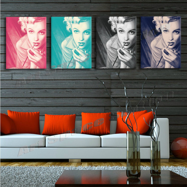 4 Panel Home Decor HD Print Portrait Painting On CanvasNo Frame Marilyn Monroe