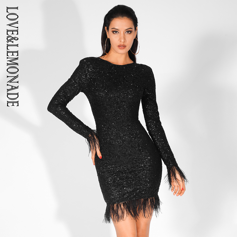 Love Lemonade Sexy Feathers Low Back Glitter Glue Long Sleeve Bodycon Dress LM81520 BLACK