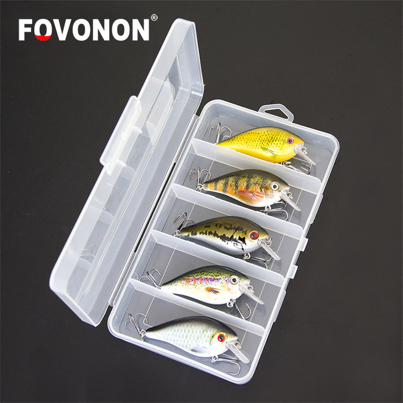 FOVONON  Fishing Lure 6.5cm 8.5g  Float Crankbaits 5pcs/lot Hard Artificial Baits Minnow for Bass Trout  Pike with  Plastic Box