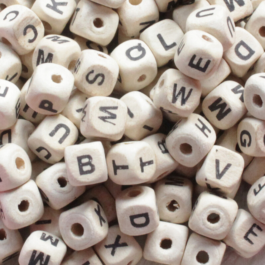 Arts,crafts & Sewing 100pcs Mix English Alphabet Wooden Beads Letters Print Cube Wood Beads For Jewelry Making Diy Bracelet Or Necklace wood Color