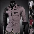 New Mens Fashion Designer Cotton cruz linha Slim Fit vestido de homem Shirts Tops ocidental ocasional M-XXL
