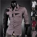 Nueva moda del Mens del algodón diseñador Cross Line Dress Slim Fit hombre camisas Tops Western Casual M-XXL