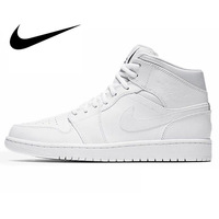 Original Authentic NIKE Men's High Top JORDAN Lightest Leather Men's Basketball Shoes Sneakers Breathable lace up sneakers554724