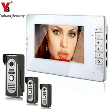 YobangSecurity 7″ inch Color LCD Wired Video Door Phone Doorbell Home Entry Intercom Kit System 1 Monitor 3 Camera