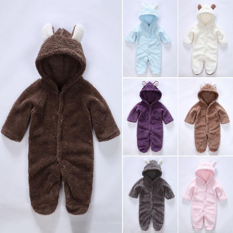 Baby Herbst Winter Mit Kapuze Overalls Kinder Casual Einteiliges Warme Lange Hülse Nette Tier Ohr Nsv775