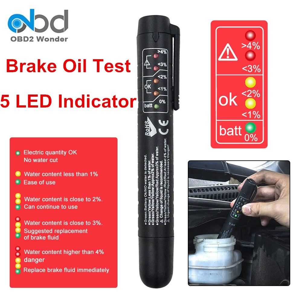 2017 New Digital Brake Fluid Tester Pen 5 LED Display Brake Oil Moisture Test Pen For DOT3 DOT4 Support Retailing Package