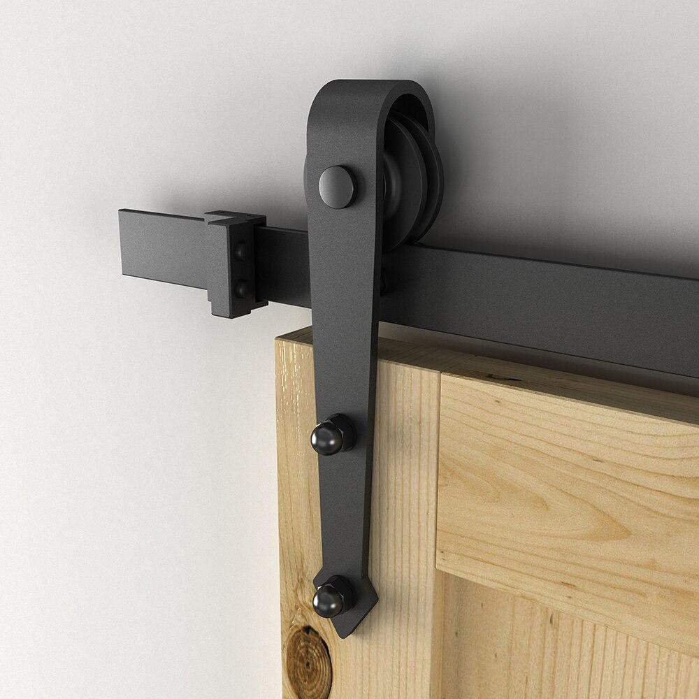Unité de système de voie de Kit de voie de matériel de placard de porte coulissante moderne de grange pour la porte en bois simple 6FT/1860mm - 4
