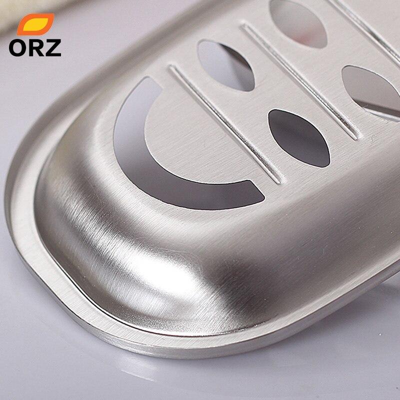 2 Pcs//Set Stainless Steel Soap Box Soap Dishes Holder Bathroom Storage Rack Set
