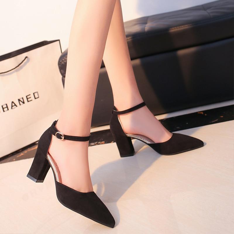 6083163c812 2018 Fashion Women High Heels Pumps shoes Comfortable Square Female elegant  party office summer Ladies wedge wedding Shoes BT746