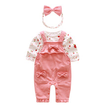 Spring and autumn female baby pink pure cotton lovely apple print suspender children suit sweet bowknot is acted the role of