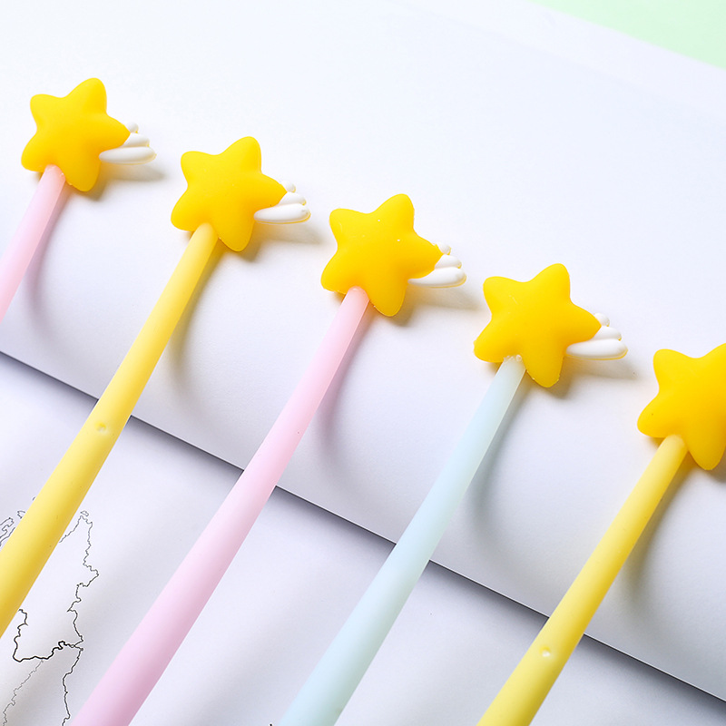3pcs Mini Lucky Star gel pen set 0.5mm flexible Black color pens for writing teacher kids gift Stationery Office School F620