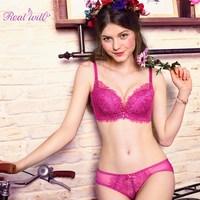 Realwill Purple Women Lingerie Set Lace Brief Bra Set Intimates Bra Woman Underwear Set Sexy