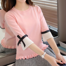 NEW Fashion spring autumn women sweater Chiffon Flare Sleeve bow Pullover Slim sweaters High Quality Tops 2019