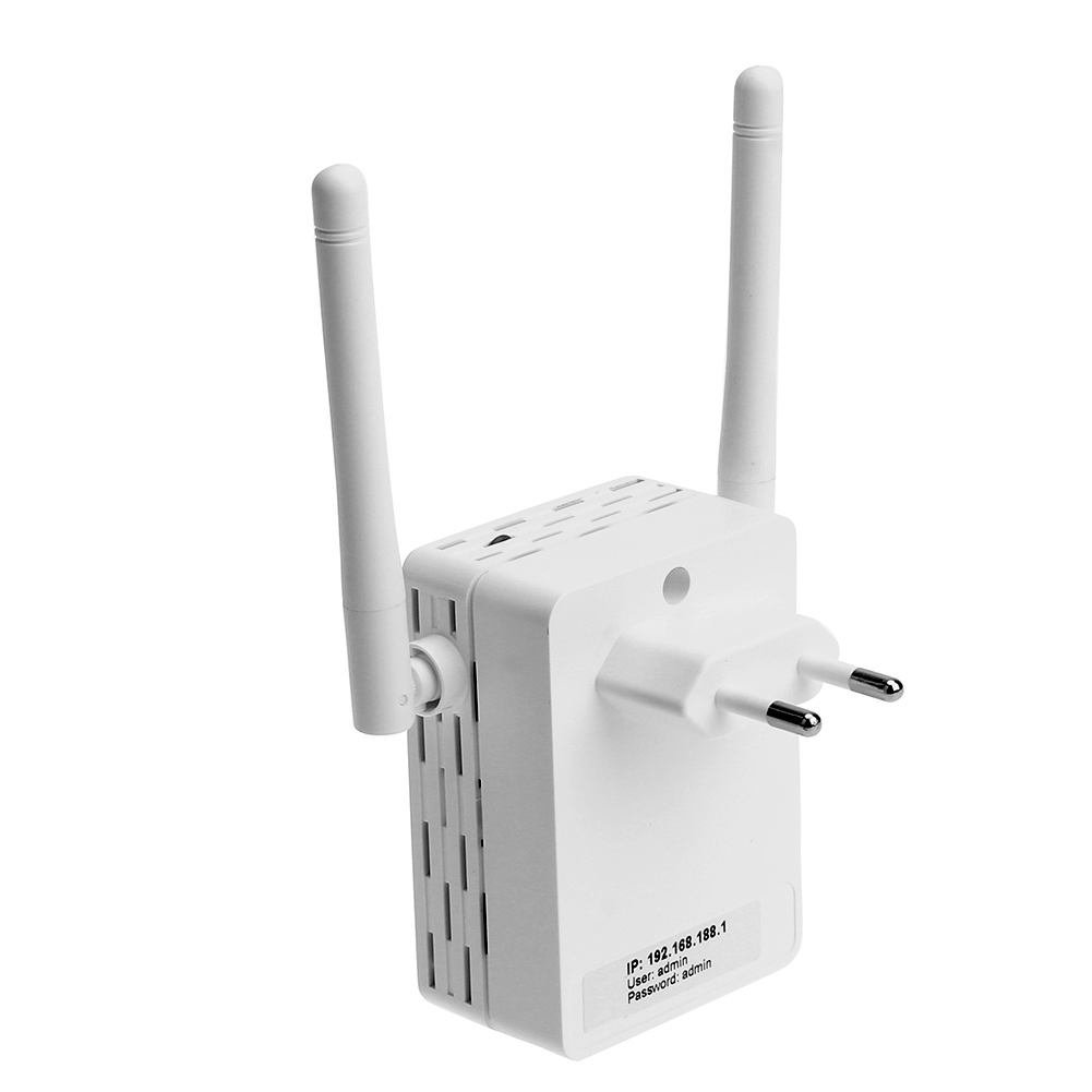 2.4Ghz 300M Wall Plug Portable Mini WiFi Wireless Receiver Router Repeater Adapter with External Antenna With 1 LAN Port