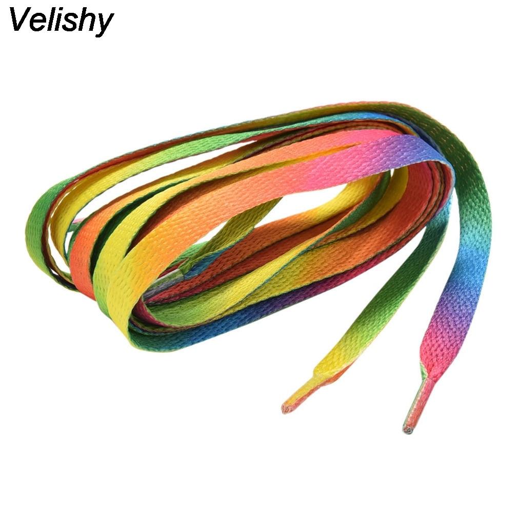 Hot 1 Pair 110 CM Rainbow Multi-Colors Flat Sports Shoe Laces Shoelaces Strings Strap for Sneakers Unisex Rainbow Shoelace bead