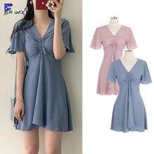 A Line Little Small Dresses Woman Fashion Hot Sales Korean Style Japan Design Draped Bow Tie Cute Sweet Mini Dress Pink 6013