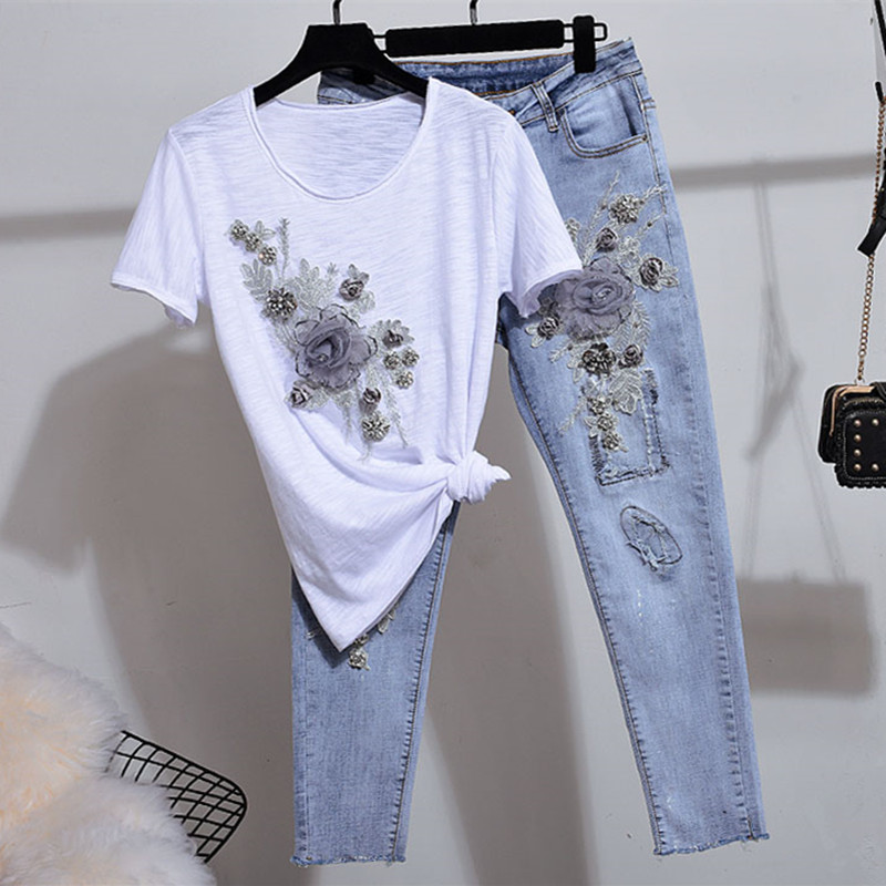 Summer Ladies Sequins Two piece Clothing Fower Set Jeans Suit Woman Streetwear 2019 New Fashion Cartoon