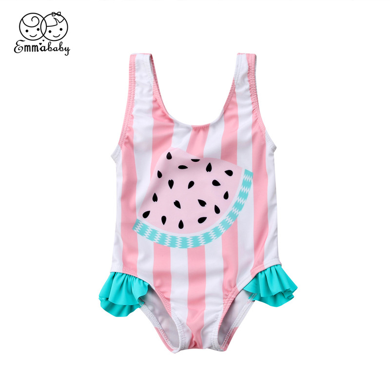 0-3Year Children One-piece Swimwear 2018 Baby Girl Watermelon Pattern Striped Swimsuit Swimming Clothes Bikini New Bathing Suit