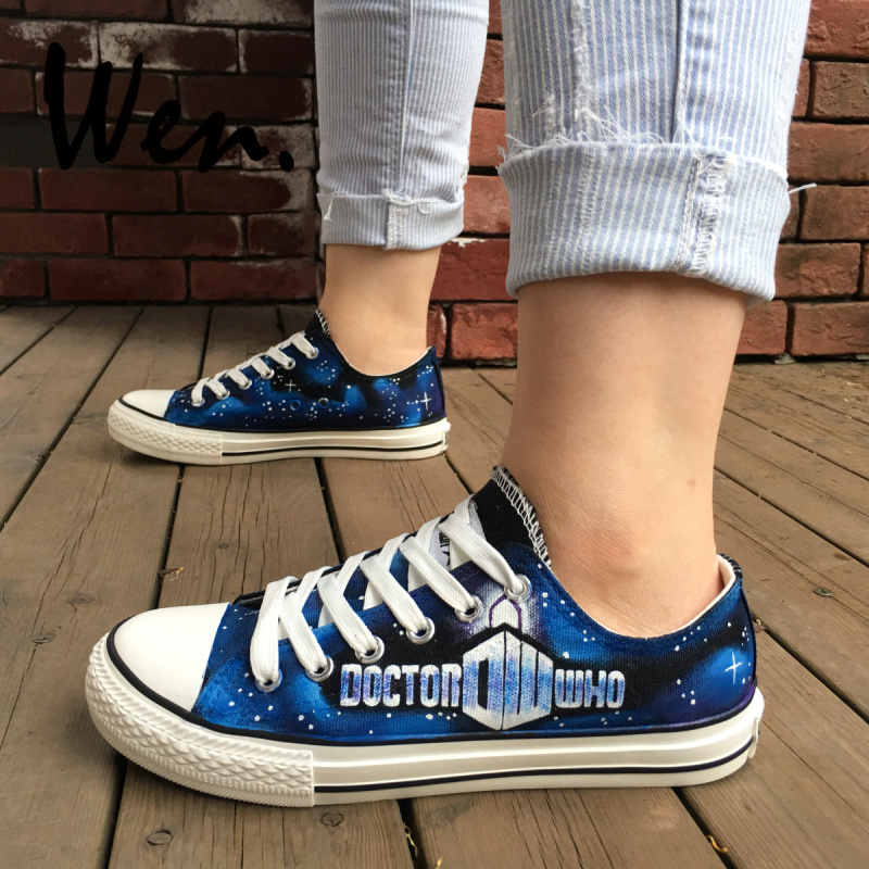 4f6b11461059 Wen Design Custom Hand Painted Shoes Doctor Who Logo Woman Man s Low Top  Blue Canvas Sneakers Platform Flat Lace up Plimsolls
