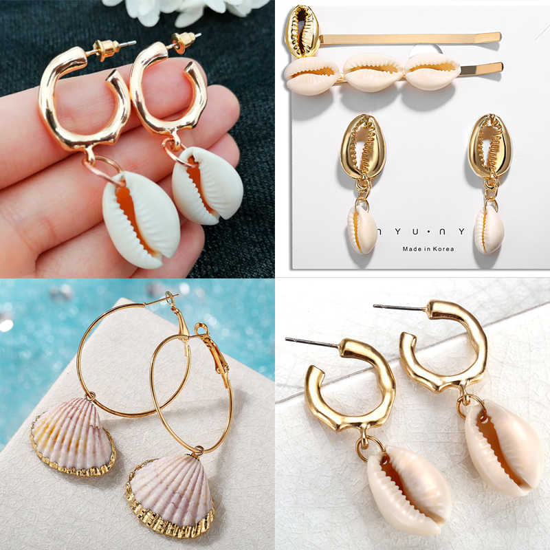 2019 New Sea Shell Earrings For Women Gold Color Round Geometric Drop Pearl Shell Earrings Summer Beach Ladies Fashion Jewelry