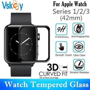 Image 1 - 10 PCS 3D Gebogen Volledige Dekking Gehard Glas Voor Apple Horloge Serie 1/2/3 42mm Screen protector iWatch Beschermende Film