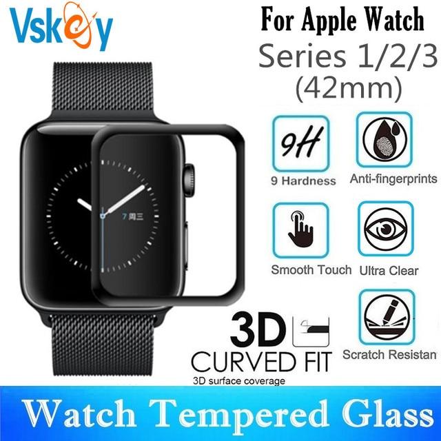 10 PCS 3D Gebogen Volledige Dekking Gehard Glas Voor Apple Horloge Serie 1/2/3 42mm Screen protector iWatch Beschermende Film