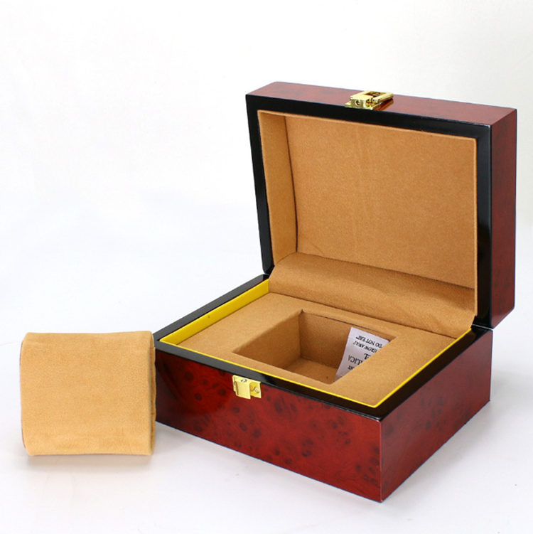 2018 New Wood Watch Display Box Red High Density Fiberboard Box For Single Watch Fashion Luxury Jewellry Gift Follow Case B022 binzi watch box fashion luxury cool box watch box for high quality watch gift box not include the watch