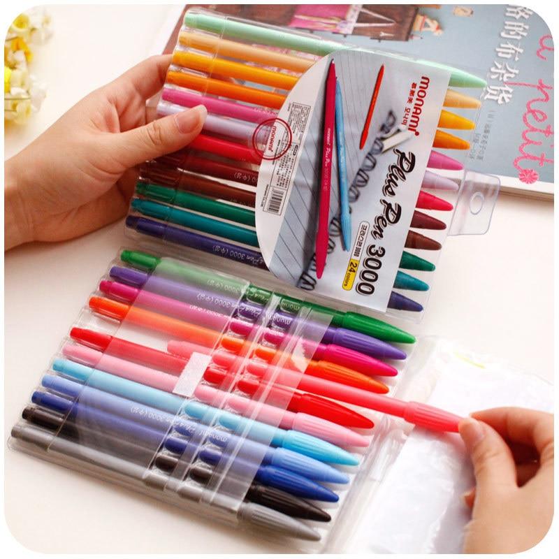 silently color watercolor pens Muna US monami3000 creative suite Korea stationery color pen 24