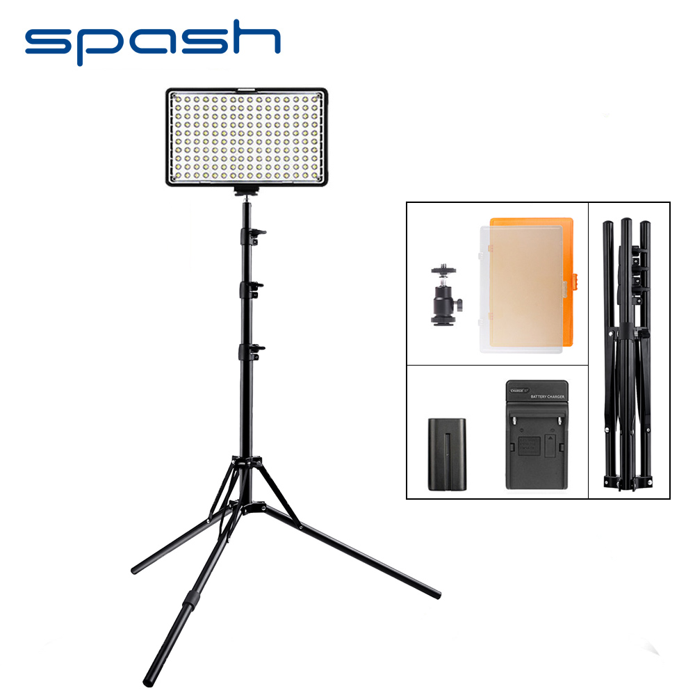 spash TL-160S 1set Portable LED Video Light with Tripod Stand 3200K/5600K CRI 85 LED Light Panel Lamp Photographic Lighting spash tl 240s 1 set led video light with tripod stand cri 93 3200k 5600k studio photo lamp led light panel photographic lighting