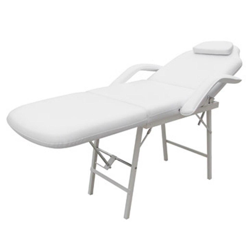 Silla de tratamiento con reposapiés y espalda ajustable blanca