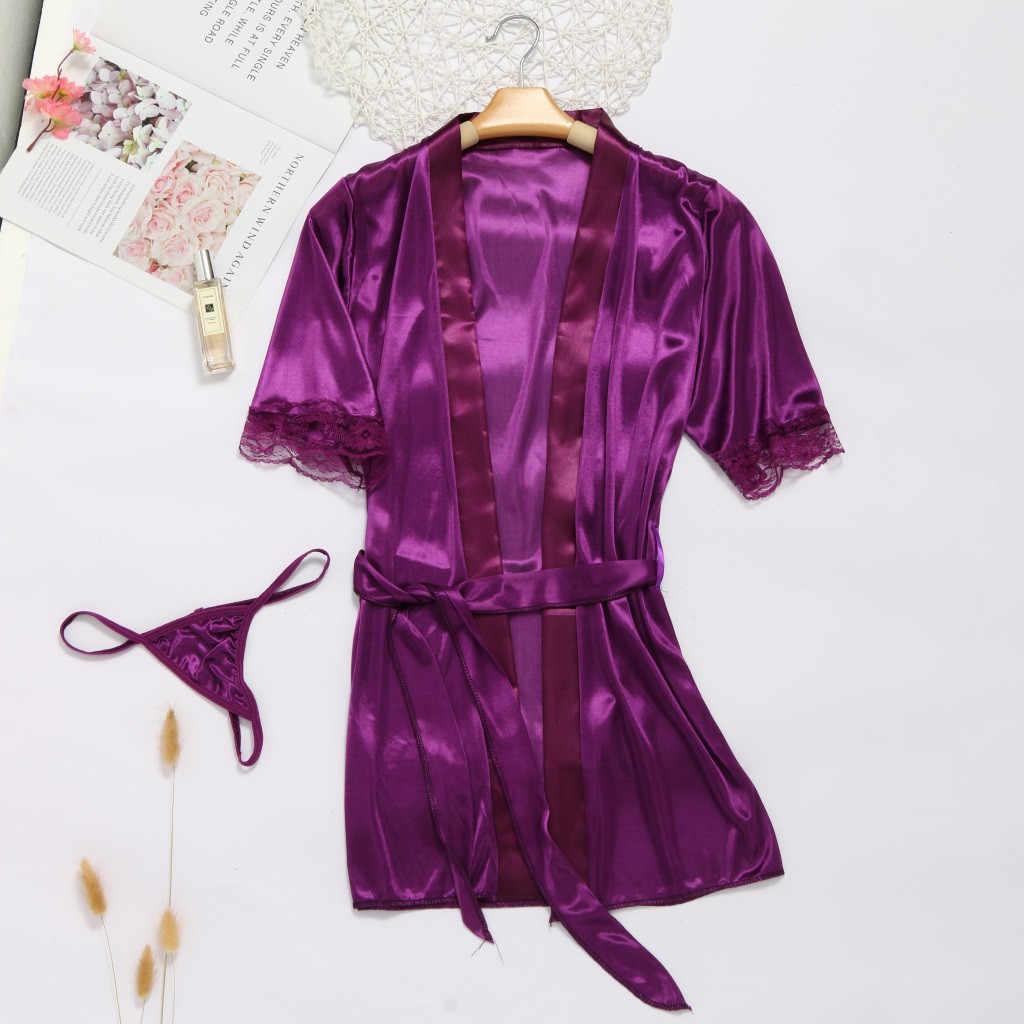 נשים גבירותיי סקסי תחרה תחתוני משי הלבשה תחתונה הלבשת כתנות הלילה Robe