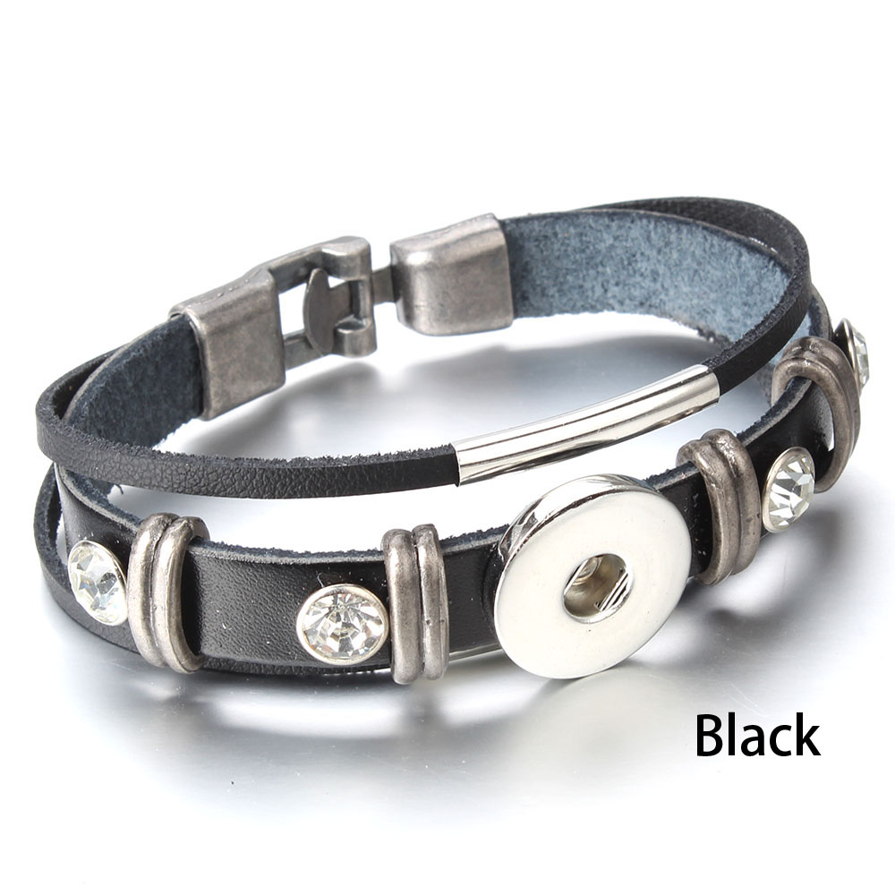 1 Dark Brown Snap Bracelet Snap Charm Leather Snap Button Bracelet for 18 mm Snaps