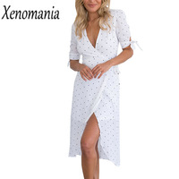 Wrap Dress Women Polka Dot Dress Off White Shirt Dresses 2018 Summer Elegant Sexy Vestido De