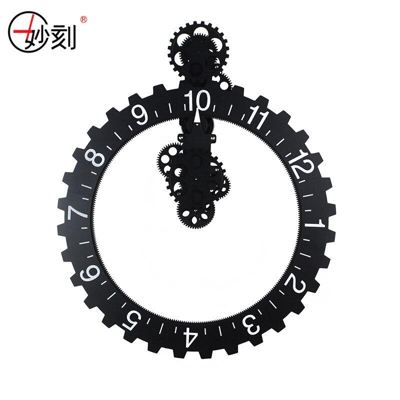 DIY Assembly Metallic Gear Wall Clock Quartz Movement Mechanical Clocks Creative Home Decor Gift Glossy Material Muted Clocks
