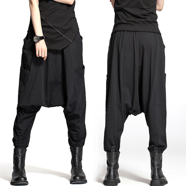 2016 Autumn and Winter Big Pockets Cross Pants Crotch Flying Squirrel Female Fashion Pants Street Trousers